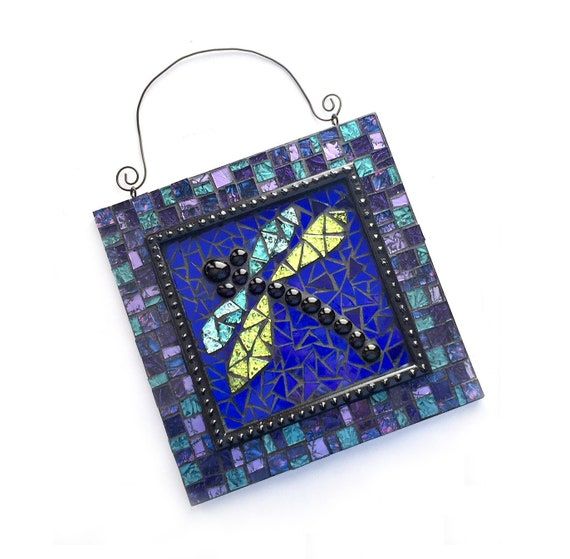Mosaic Dragonfly Art, Blue Purple Dragonfly Mosaic Wall Hanging, Dragonfly Home Decor, Mosaic Dragonfly Wall Art, Mixed Media Dragonfly Art