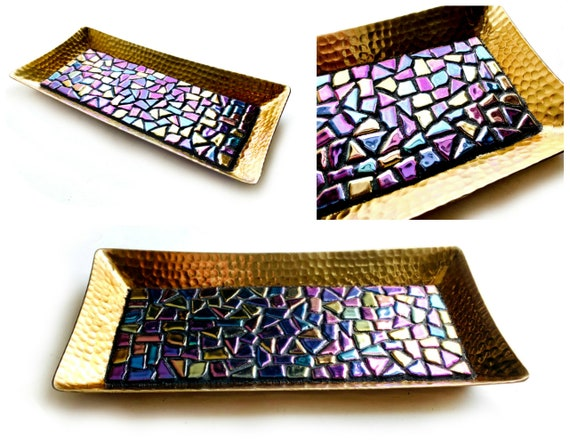 GLAM Mosaic Tray, Gold Purple Mosaic Vanity Tray, Iridescent Mosaic Candle Tray, Gold Purple Candle Stand, Dresser Caddy, Perfume Caddy