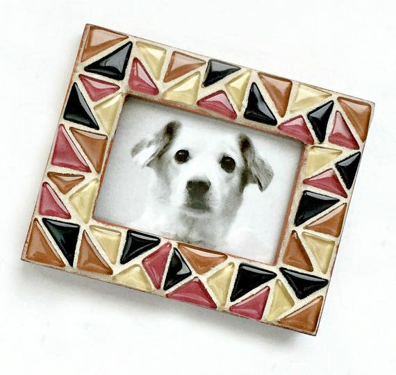 Earth Tone Mosaic Frame, Small Photo Frame, Glass Tile Mosaic Frame, Mini Mosaic Frame, Brown Terracotta Black Triangle Mosaic Frame