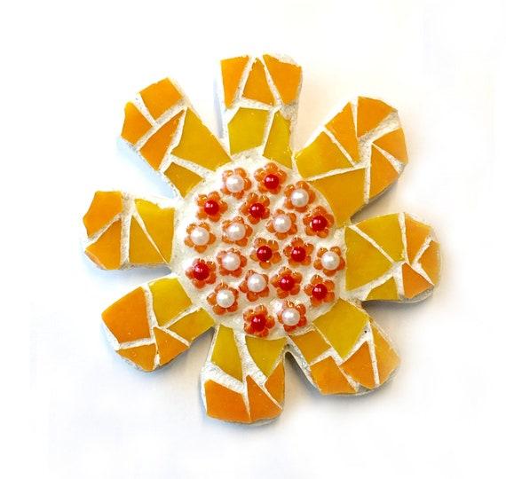 SALE Mosaic Flower Magnet, Mosaic Orange Flower Magnet, Orange Daisy Magnet, Handmade Mosaic Flower Magnet, Kitchen Orange Flower Magnet