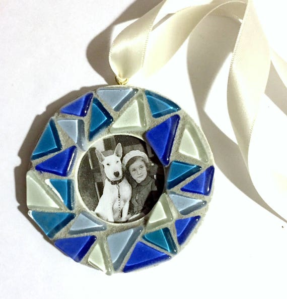 Mosaic Frame Ornament, Blue Glass Tile Mosaic Frame Ornament, Hanging Frame, Blue White Mosaic Ornament, Hanging Mosaic Frame