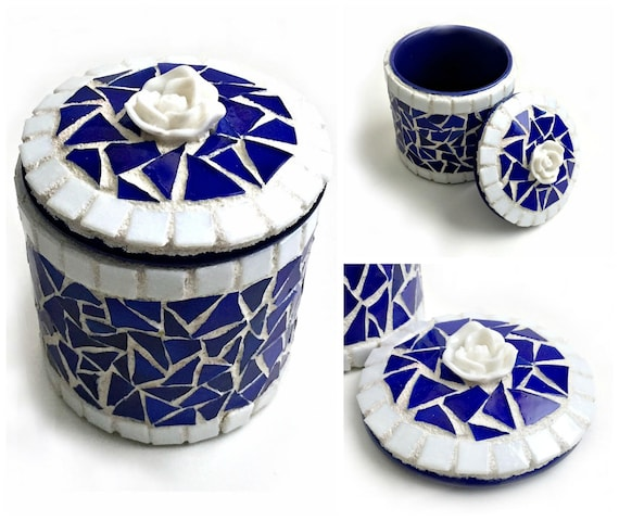 Blue Ceramic Mosaic Box, Cobalt Blue Mosaic Trinket Box, Ceramic and Mosaic Royal Blue Box, White Rose Blue Mosaic Box, Blue and White Box