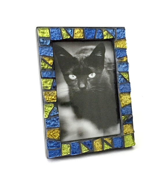 Gem Stone Colored Mosaic Glass Tile Frame, Iridescent Glass Mosaic Frame, 4x6 Black Frame with Glitter Tiles, Handmade Mosaic Tile Frame