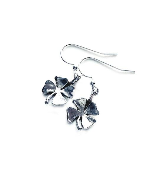 Shamrock Earrings, Silvertone Shamrock Earrings, Clover Earrings, Dangling Pierced Four Leaf Clover Earrings, 4 Leaf Clover Earrings