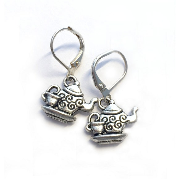Teapot Earrings, Silvertone Teapot Teacup Earrings, Handmade Teapot Earrings, Dangling Leverback Teacup Earrings, Pierced Tea Pot Earrings