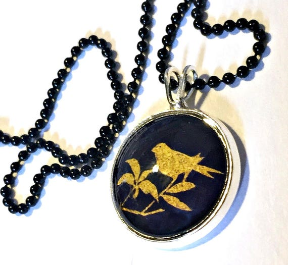 Bird Necklace, Gold Bird Black Pendant, 16mm Black Bird Pendant on 24 inch Black Chain, BirdNecklace, Bird Love Pendant, Bird Branch Pendant