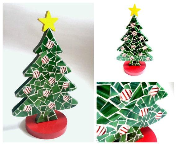 Mosaic Christmas Tree, Green Red White Yellow Mosaic Xmas Tree, Two Sided Standing Christmas Tree, Holiday Tree, Green Mosaic Xmas Tree