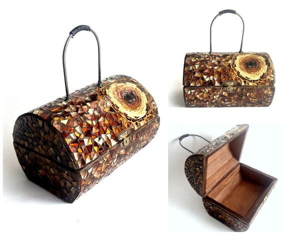 Mosaic Box Purse, Wood and Mosaic Box with Handle, Copper Gold Glass Box Mosaic Jewelry Box, Mosaic Jewelry Box, Mosaic Jewelry Box Purse