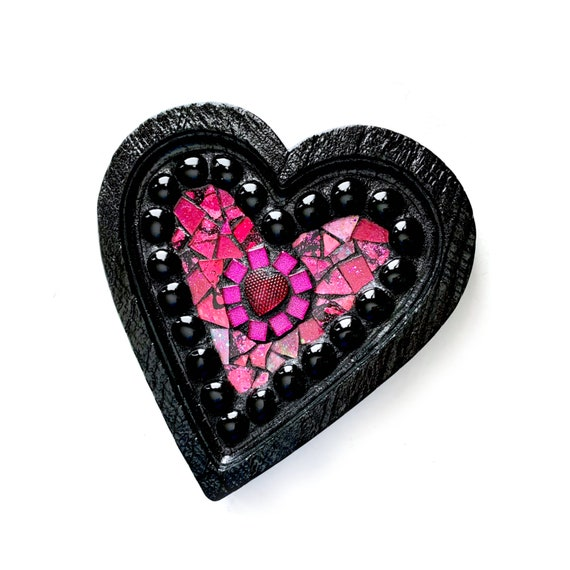 ON SALE Pink Heart Mosaic Plaque, Heart Shaped Sparkly Pink Framed Plaque, Framed Pink and Black Mosaic Heart Wall Hanging