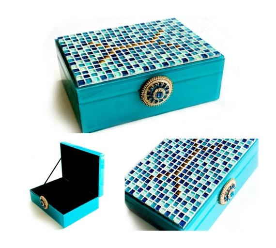 Giltter Glass Mosaic Box, GLAM Mosaic Storage Box, Turquoise Aqua Blue Mosaic Glitter Glam Mosaic Jewelry Box, Large Mosaic Jewelry Box