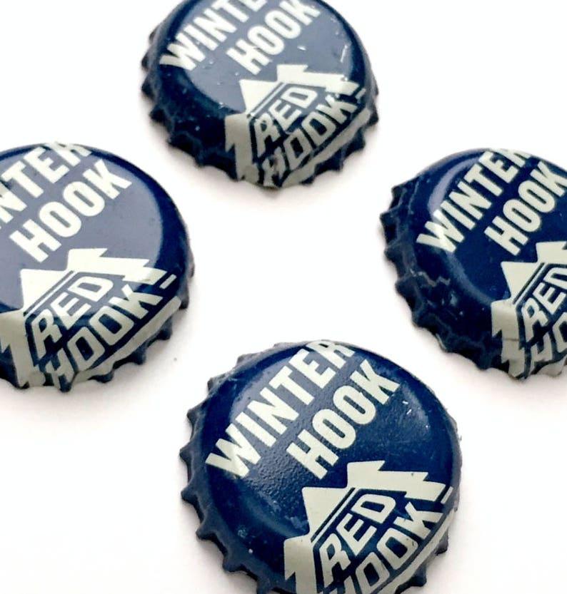 Beer Magnets Blue Magnets Microbrew Magnets Four Beer Bottle Magnets Red Hook Winter Hook Bottle Cap Magnets Bottle Cap Magnets