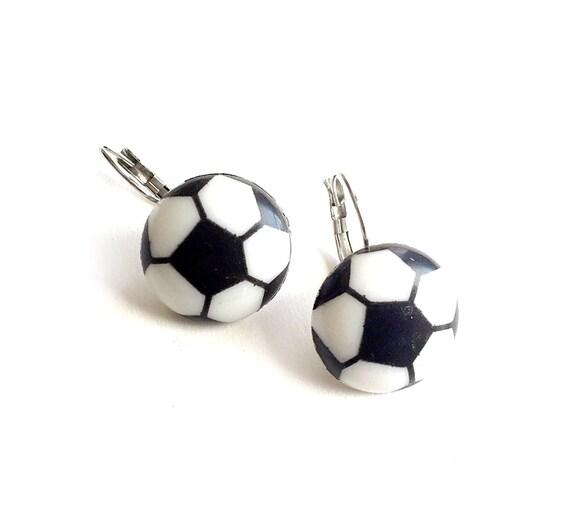SALE Soccer Ball Earrings, Soccer Theme Pierced Earrings, Surgical Steel Pierced LeverBack Soccer Ball Earrings, Soccer Ball ClipOn Earrings