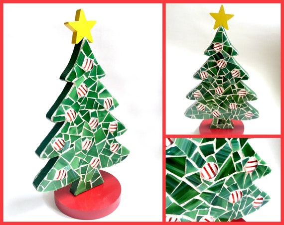 Mosaic Christmas Tree, Green Red White Yellow Mosaic Xmas Tree, Two Sided 3-D Standing Christmas Tree, Holiday Tree, Green Mosaic Xmas Tree