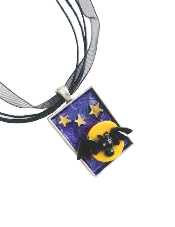 Bat Full Moon Pendant, Halloween Pendant, Moon Bat Stars Pendant on Organza Necklace, Black Purple Gold Bat Pendant Necklace with Moon Stars