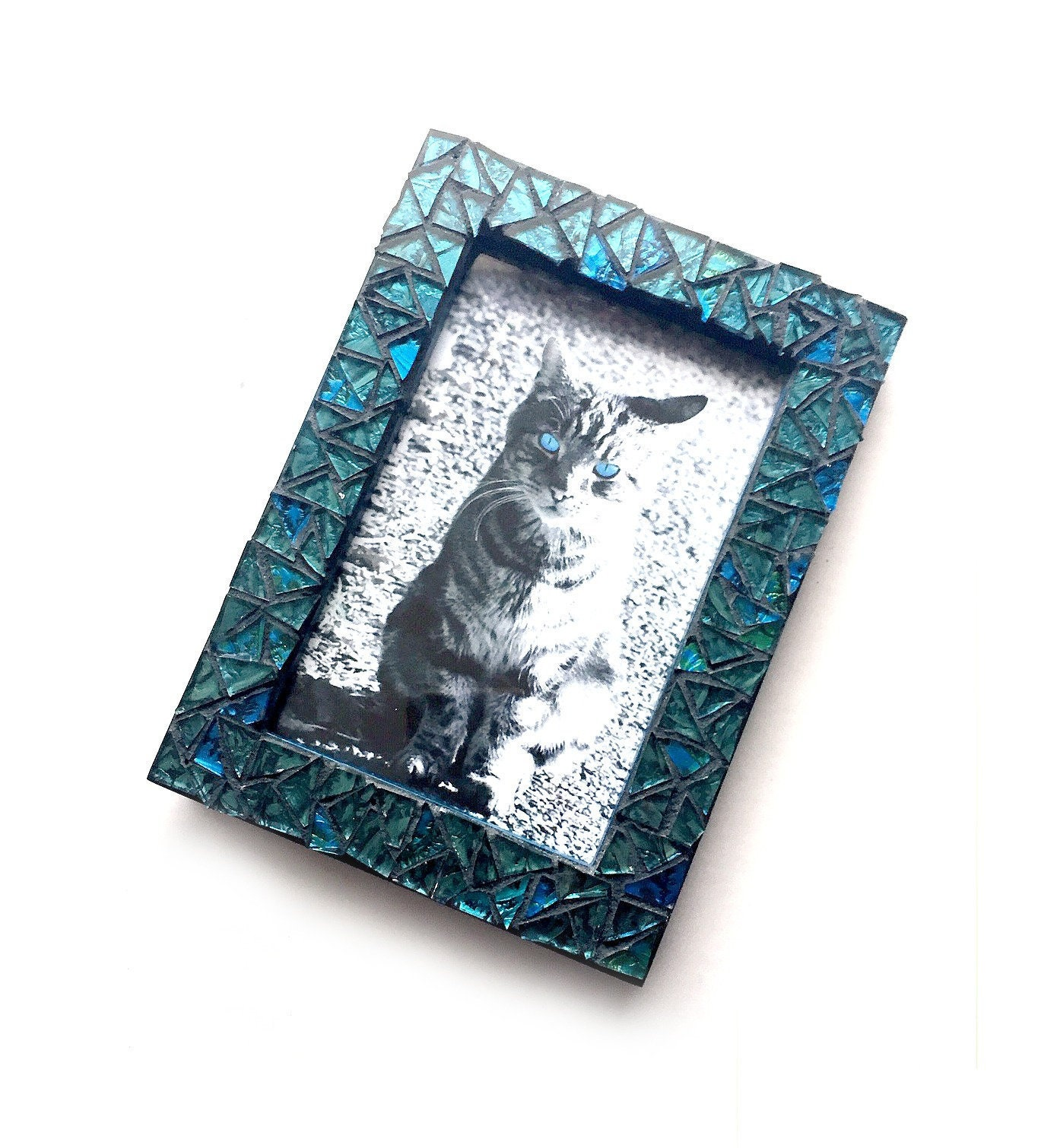 Blue Mosaic Picture Frame Blue Iridescent Glass Tile