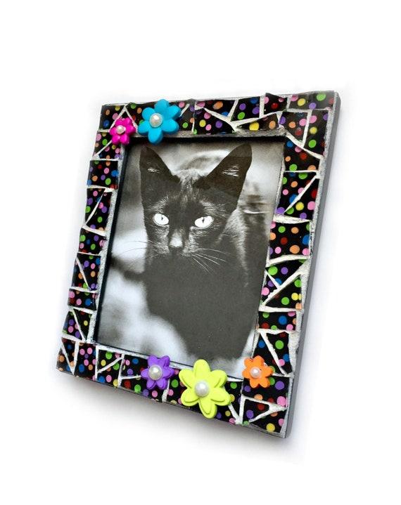 Polka Dot Flower Mosaic  Frame, Black Flower Mosaic Frame, Flowered Mosaic Frame, Handmade Mosaic Black Multi Colored Flower Frame