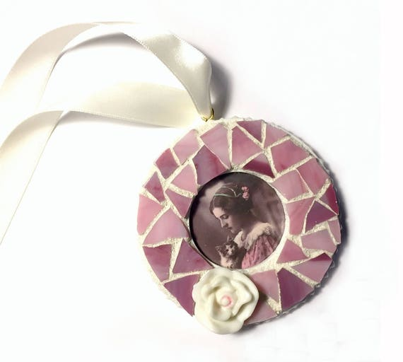 Mosaic White Pink Flower Frame Ornament, Mosaic Rose Frame Ornament, Mosaic Frame Ornament, Romantic Rose Mosaic Ornament, Hanging Frame