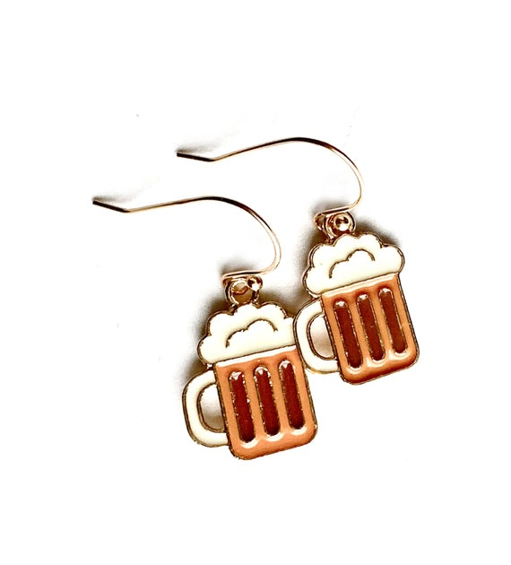 Beer Mug Earrings, Beer Lover Earrings, Handmade Beer Stein Earrings, Dangling Enamel Beer Mug Earrings on Gold Over Sterling Silver Wire