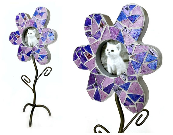 Flower Frame, Flower Stem Frame, Lavender Purple Mosaic Flower Shaped Frame, Purple Flower Frame, Lavender Purple Round Picture Frame