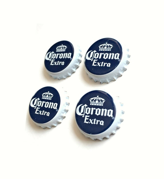 Beer Magnets, Bottle Cap Magnets, Corona Extra Bottle Cap Magnets, Bar Magnet Set, Four Beer Bottle Magnets, Blue Magnets, Microbrew Magnets