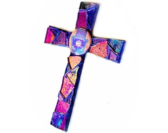Mosaic Cross Magnet, Mosaic Hamsa Cross Magnet, Purple Mosaic Hamsa Protection Cross Magnet, Handmade Mosaic Purple Hamsa Hand Cross Magnet