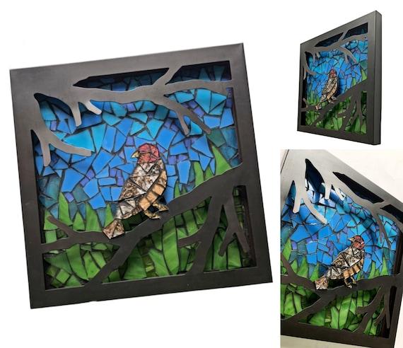 Mosaic 3D Bird Art, Original Handmade Mosaic Framed Bird Art, Framed 3D Bird on a Branch Mosaic Art, Mixed Media Mosaic Bird 3D Art