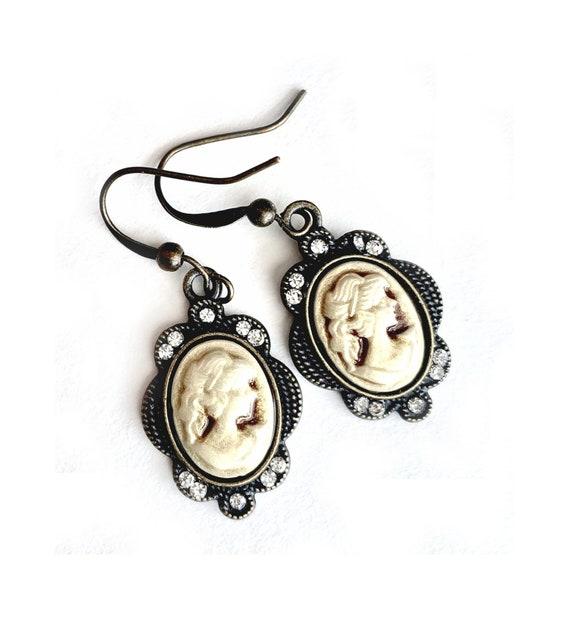 Bronze Cameo Earrings, Pierced Antique Bronze Cameo Earrings, Handmade Cameo Earrings, Dangling Bronze Cameo Earrings with Rhinestones