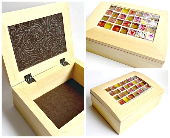 Mosaic Top Box, Wood and Mosaic Storage Box, Copper Gold Glass Box Mosaic Jewelry Box, Mosaic Jewelry Box, Lined Mosaic Jewelry Box