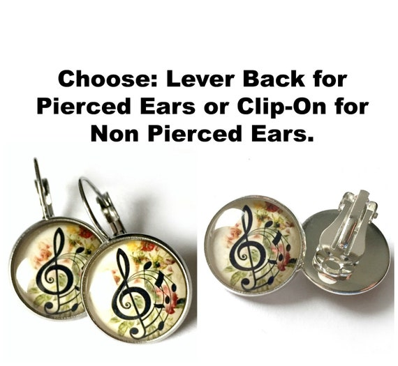 Music Earrings, Music Clef Earrings, Musical Theme Pierced Earrings, Surgical Steel Pierced Lever back Music Theme Clip On Earrings