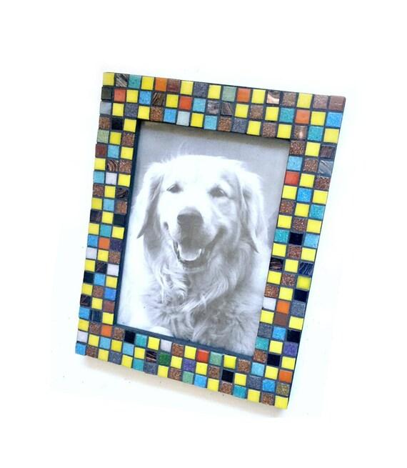 Confetti Mosaic Tile Frame, 5 x 7 Photo Frame, Multi Colored Mosaic Frame, Glass Tile Mosaic Frame, Mosaic Squares Frame, Geometric Frame