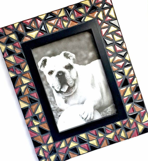 Mosaic Picture Frame, Brown Black Mosaic Frame, 5x7 Mosaic Frame, Triangle Glass Mosaic Frame, Black Brown Frame, Handmade Mosaic Frame