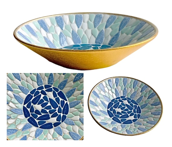 "Vintage Mosaic Bowl, 10"" Blue Aqua Mosaic Bowl, MCM Vintage Mosaic Bowl, Aqua and Blue and White Mosaic Bowl, Mosaic Fruit Bowl"