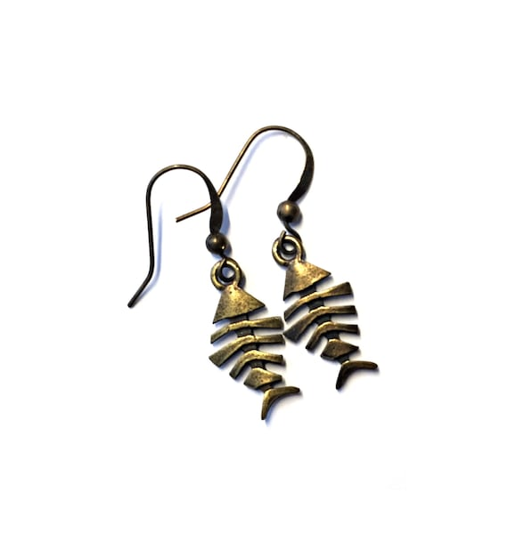 Bronze Brass Fishbone Earrings, Pierced Antique Bronze Fish Earrings, Handmade Fish Bone Earrings, Dangling Bronze Fish Bone Earrings