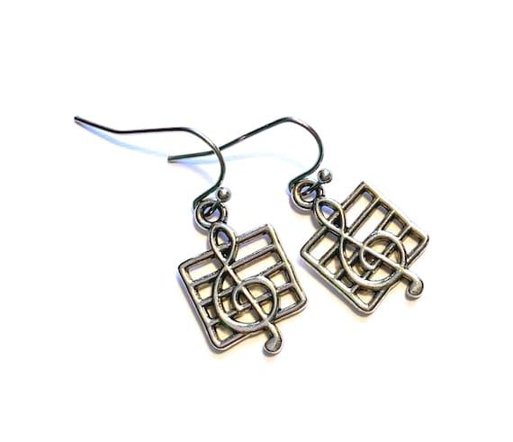 Music Clef Earrings, Silvertone Musical Theme Earrings, Pierced Music Clef Earrings, Dangling Music Clef Sheet Music Earrings, Silver Clef
