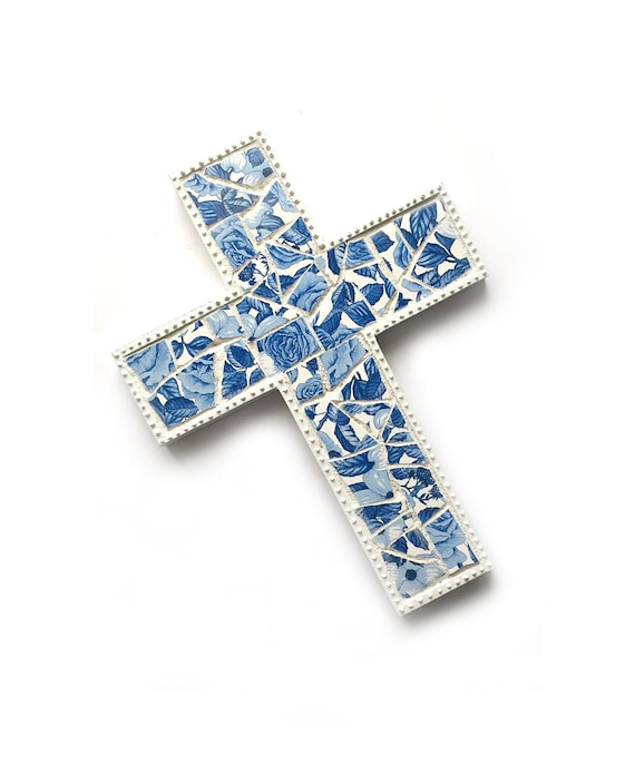 Mosaic Cross, Blue White Mosaic Wall Cross, Blue White Floral Mosaic Cross, Mosaic Cross Wall Hanging, Handmade Shabby Chic Cross Art