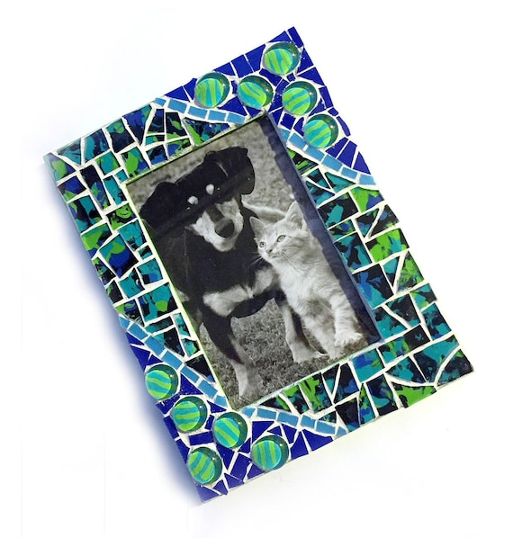 Blue Green Mosaic Photo Frame, Lime Green Mosaic Frame, 4 x 6 Photo Mosaic Frame, Cobalt Blue Lime Green Mosaic Picture Frame, 4x6 Frame