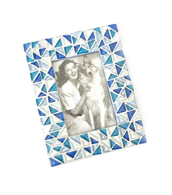 Blue Mosaic Glass Tile Frame, Multi Blue Shades Mosaic Tile Frame, 4x6 Mosaic Frame, Blue Turquoise White Mosaic Frame, Blue Triangles Frame