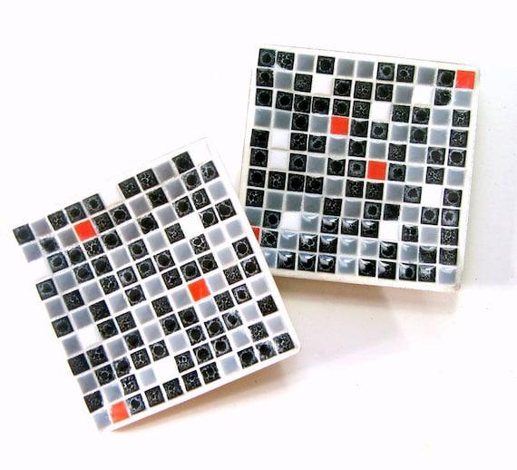 Vintage Mosaic Tray Set, Black White Red Grey Mosaic Dish Set, Refurbished Mosaic Tray Set, Mid Century Mosaic Set, Retro Tile Mosaic Trays