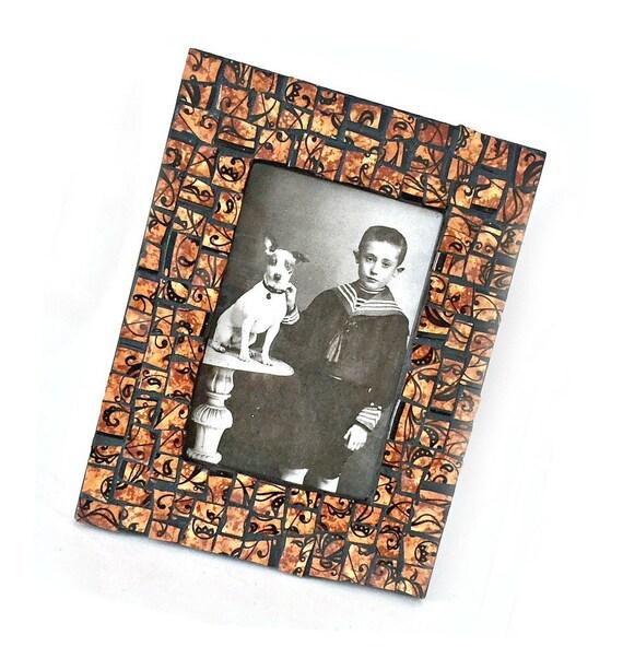 Brown Black Mosaic Photo Frame, Brown Black Filigree Mosaic Frame, 4 x 6 Photo Mosaic Frame, 4 x 6 Brown Black Print Mosaic Picture Frame