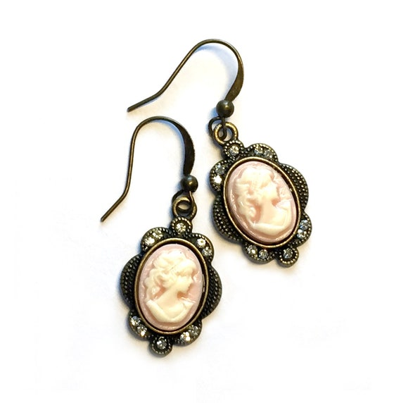 Bronze Pink Cameo Earrings, Pierced Antique Bronze Cameo Earrings, Handmade Pink Cameo Earrings, Dangling Bronze and Pink Cameo Earrings