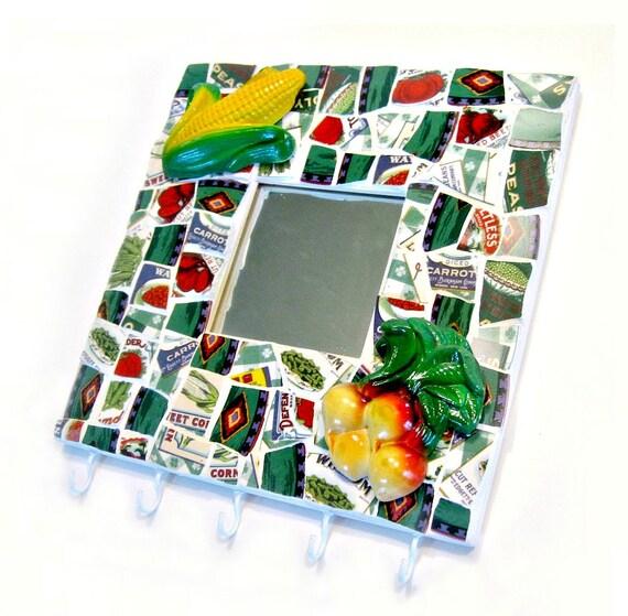 SALE Mosaic Farm Theme Hooks and Mirror, Mosaic Kitchen Towel Pot Holder Rack, Mosaic Pot Holder, Farm House Garden Hooks Mirror Hanging