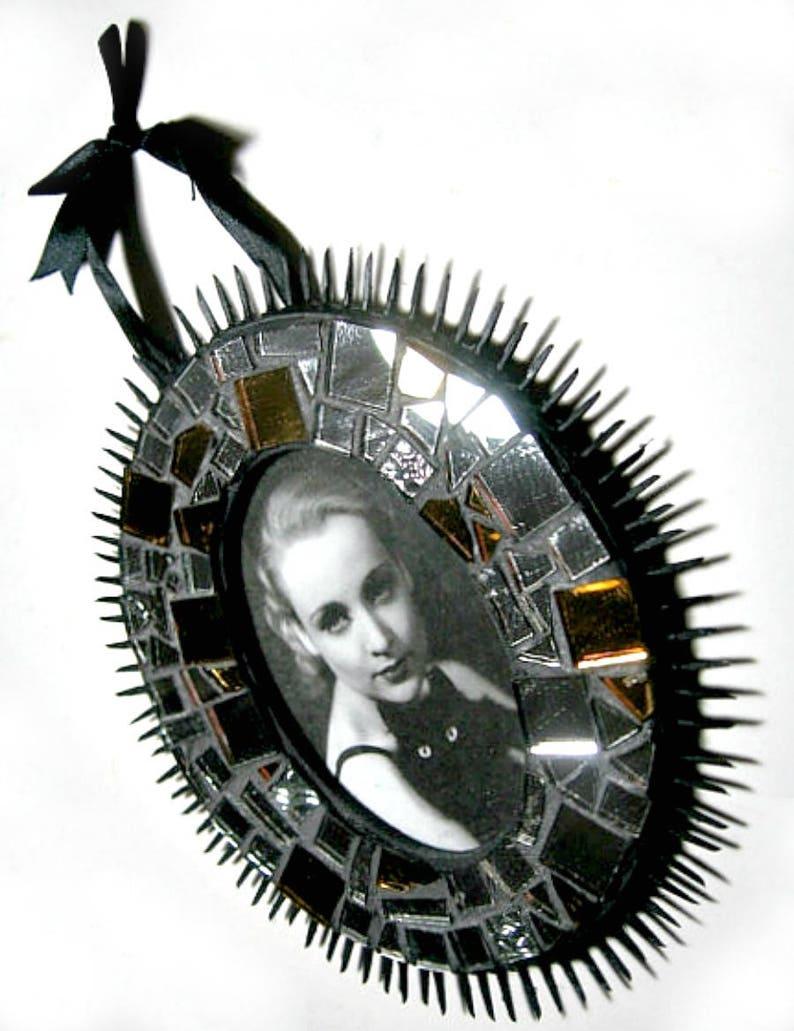 Black Spiked Mosaic Frame Sparkly Mosaic Frame Oval Mosaic Picture Frame Handmade Mosaic Frame Mirror Frame Black Silver Mosaic Frame