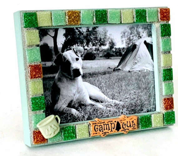 Green Camp Mosaic Frame, Rectangle Green Glass Tile Camping Mosaic Frame, I Love Camping Mosaic Picture Frame. 4x5 Opening Camp Frame