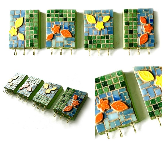 4 Pc Mosaic Flowers Jewelry Display Hook, Flower Mosaic Wall Hooks, Mosaic Necklace Organizers, Green Yellow Orange Flower Jewelry Hooks