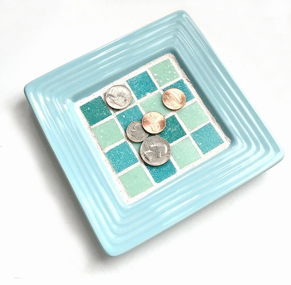 SALE Aqua Ceramic Mosaic Ring Dish, Aqua Turquoise Mosaic Ring Keeper, Mosaic Key Catcher,Blue Mosaic Candle Stand Tray, Mosaic Jewelry Dish