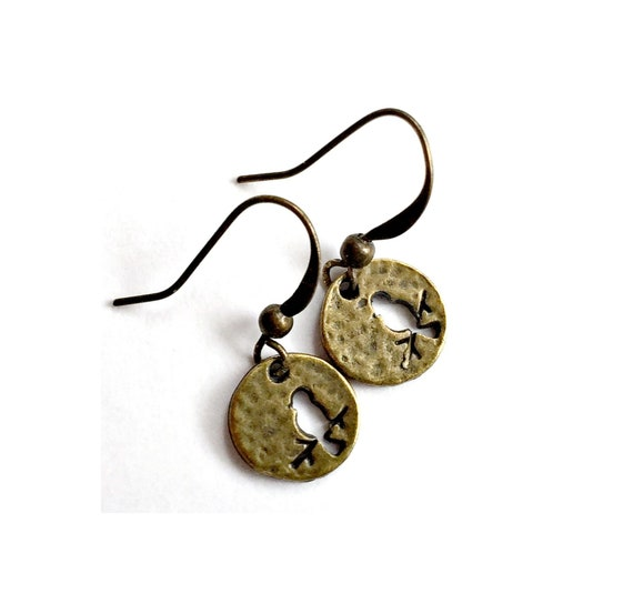 Bronze Brass Bird Earrings, Pierced Antique Bronze Bird Earrings, Handmade Bird Earrings, Dangling Bronze Bird Earrings,Bird Branch Earrings