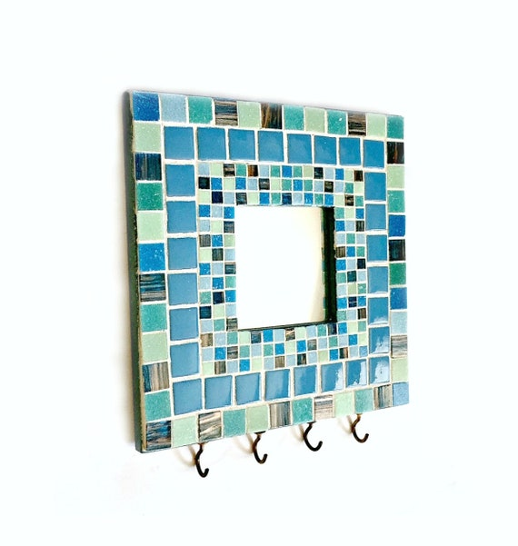 Mosaic Key Rack, Mosaic Mirror, Mosaic Mirror Key Keeper, Mosaic Key Holder, Key Organizer, Key Rack, Aqua Blue Mosaic Key Rack Mirror