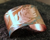 Peacock Plumes - Etched Copper Cuff