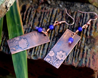 Daisy Days - etched copper with agate bead dangles