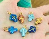 Lampwork Cross bead charms Pendant-Metallic cross Charm Beads-tiny cross charms- Rosary components Crosses-religious glass cross pendants
